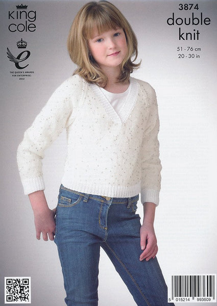 Ballet Top & V-Neck Sweater in King Cole Galaxy DK (3874)