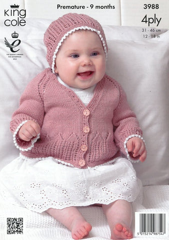 Matinee Coat, Cardigan and Hats in King Cole Bamboo Cotton 4 Ply (3988)