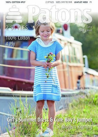 Girls Summer Dress and Cute Boys Jumper in Patons 100% Cotton 4 Ply (4053)