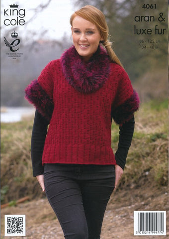 Sweater with Hood and Top with Separate Cowl in King Cole Aran and King Cole Luxe Fur (4061)