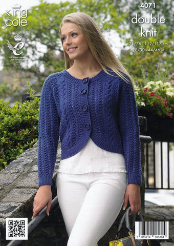 Curved and Straight Cardigans in King Cole Merino Blend DK (4071)