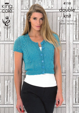 Ladies Cap Sleeved Cardigan and Long Sleeved Sweater in King Cole Galaxy DK (4110)