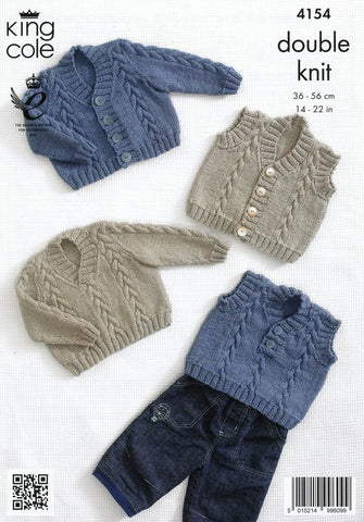 Waistcoat, Cardigan, Slipover and Sweater in King Cole Baby DK (4154)