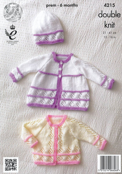 Matinee Coats, Cardigan, Beret and Hat in King Cole DK (4215)