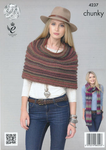 Snood, Lace Scarf and Shawl in King Cole Riot Chunky (4237)