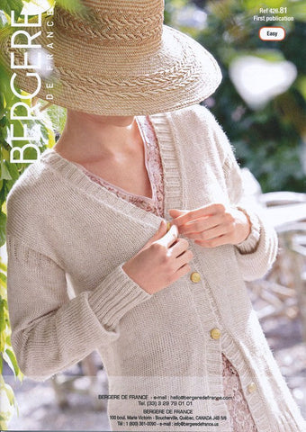 V Neck Cardigan in Bergere De France (426.81)