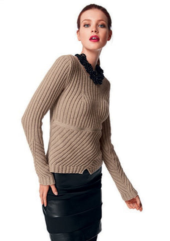 """Funky Rib"" Sweater in Bergere de France Cachemire (426.83)"