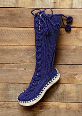 Lace Up Cable Slipper Socks in Bergere de France Magic+ (428.45)
