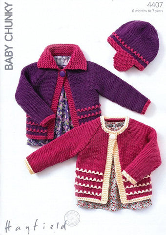 Cardigans and Hat in Hayfield Baby Chunky (4407)