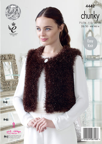 Round Neck Cardigans in King Cole Tinsel Chunky Kit