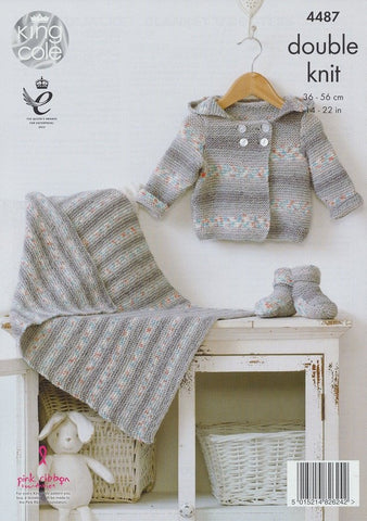 Hooded Jacket, Blanket and Bootees in King Cole Drifter DK for Baby (4487)