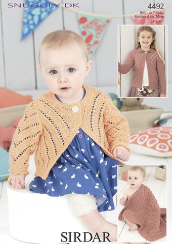 Round Neck and Flat Collared Cardigans and Baby Blanket in Sirdar Snuggly DK (4492)