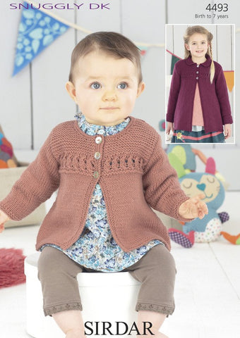 Girls Round Neck and Peter Pan Collar Coat in Sirdar Snuggly DK (4493)