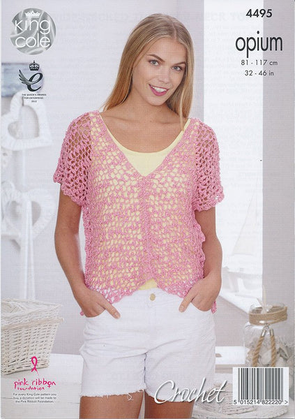Mesh Wide-Necked Tunic and V-Neck Top in King Cole Opium (4495)
