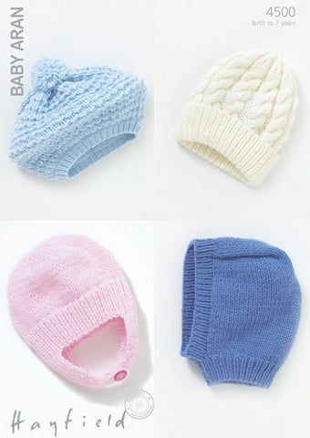 Baby Helmet, Beret, Balaclava and Pull-On Hat in Hayfield Baby Aran (4500)