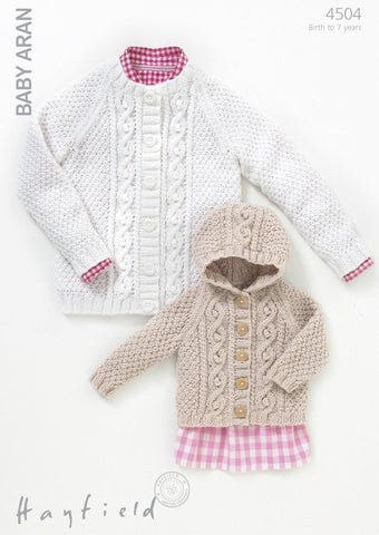 Girls Round Neck and Hooded Cardigans in Hayfield Baby Aran (4504)