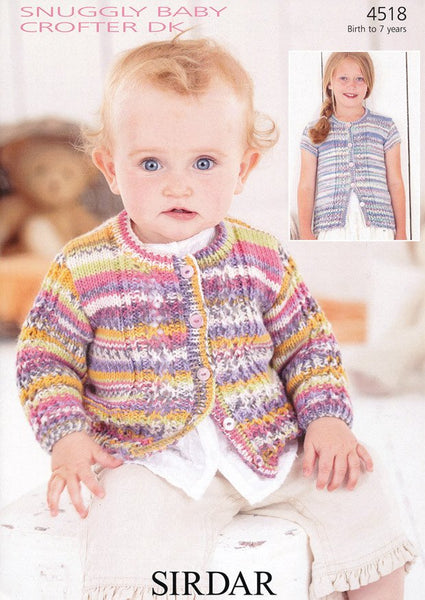 Baby and Girl's Cardigans in Sirdar Snuggly Baby Crofter DK (4518)