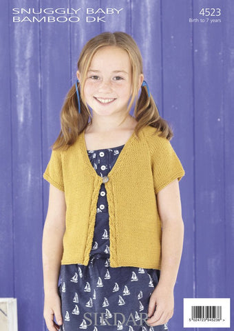 Girls Long and Short Sleeved V Neck Cardigans in Sirdar Snuggly Baby Bamboo DK (4523)