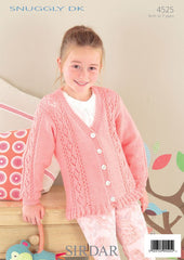 Babies & Girls Round and V Neck Cardigans in Sirdar Snuggly DK (4525) - Digital Version
