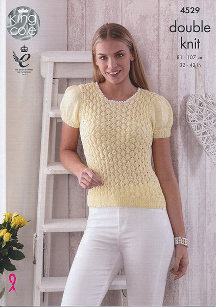 Top and Cardigan in King Cole Giza Cotton DK (4529)