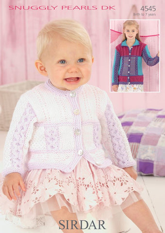 Babies Round Neck and Girls Flat Collared Cardigans in Sirdar Snuggly Pearls DK (4545) - Digital Version