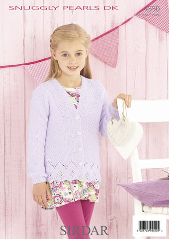 Girls V Neck and Round Neck Cardigans in Sirdar Snuggly Pearls DK (4550)
