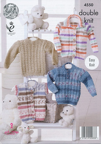 Cardigan, Gilet and Sweaters in King Cole DK (4550)