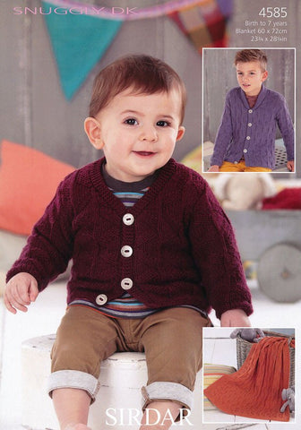 Boys V Neck and Shawl Collared Cardigans and Blanket in Sirdar Snuggly DK (4585)
