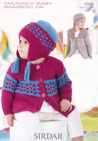 Girls Round Neck and V neck Cardigans with Matching Bonnets in Sirdar Sunggly Baby Bamboo DK (4588)