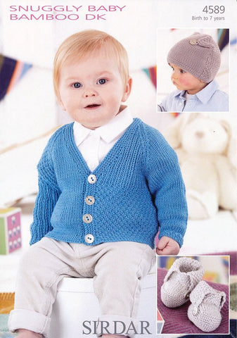 Boys Cardigan, Bootees and T-Bag Hat in Sirdar Snuggly Baby Bamboo DK (4589)