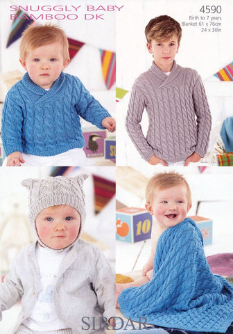 Boys Wrap Neck Sweater, T-Bag Hat and Blanket in Sirdar Snuggly Baby Bamboo DK (4590)