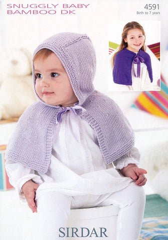 Girls Round Neck and Hooded Capes in Sirdar Snuggly Baby Bamboo DK (4591)