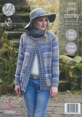 Ladies Sweater Jackets in King Cole Drifter Chunky (4598)