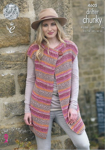 Ladies Waistcoats in King Cole Drifter Chunky (4605)