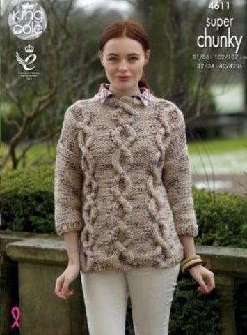 Sweater and Cardigan in King Cole Super Chunky Twist - Big Value (4611)