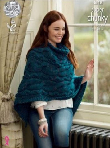 Sweater and Poncho in King Cole Super Chunky Twist - Big Value (4618)