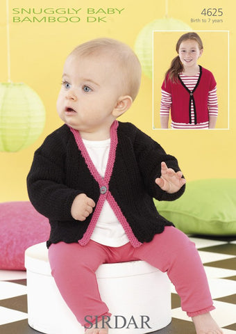 Girls Short and Long Sleeved Cardigans in Sirdar Snuggly Baby Bamboo DK (4625)