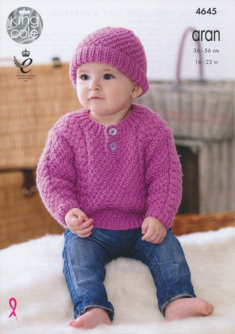 Sweater, Trousers, Hat and Mittens in King Cole Comfort Aran (4645)
