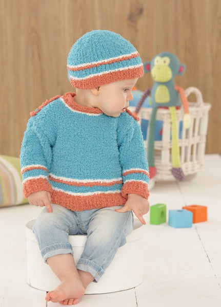 Baby Sweater, Hat, Bootees and Blanket in Sirdar Snuggly Snowflake Chunky (4649)
