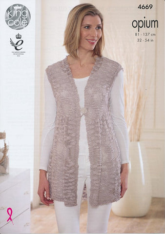 Smock Tunic and Matching Gilet in King Cole Opium and Opium Palette (4669)