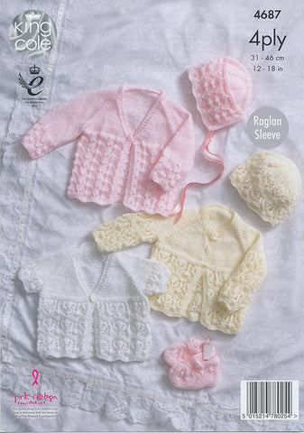 Matinee Coats, Bonnet, Hat and Bootees in King Cole 4 Ply (4687)
