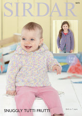 Hooded Cardigan and Sweater in Sirdar Snuggly Tutti Frutti (4693)