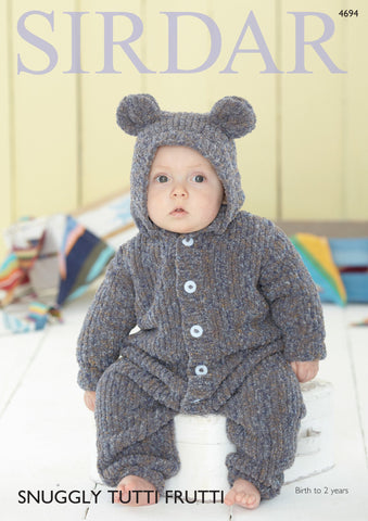 Hooded Onesie in Sirdar Snuggly Tutti Frutti (4694)