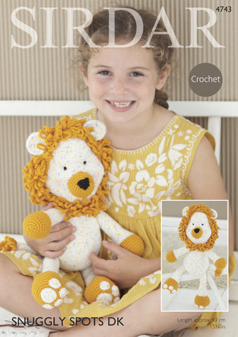 Logan The Lion Toy In Sirdar Snuggly Spots & Snuggly Dk (4743)