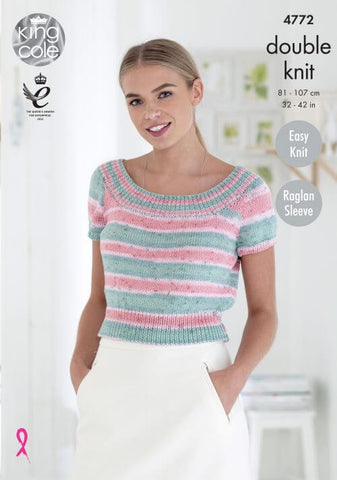 Ladies' Short Sleeve Tops in King Cole Cottonsoft Crush DK (4772)