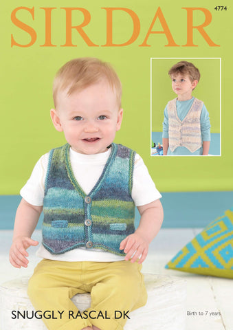 Waistcoats in Sirdar Snuggly Rascal DK (4774) - Digital Version