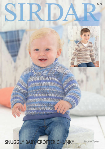 Baby Boy's and Boy's Sweaters in Sirdar Snuggly Baby Crofter Chunky (4778)