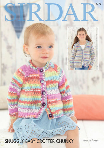 Girls Cardigans in Sirdar Snuggly Baby Crofter Chunky (4779)