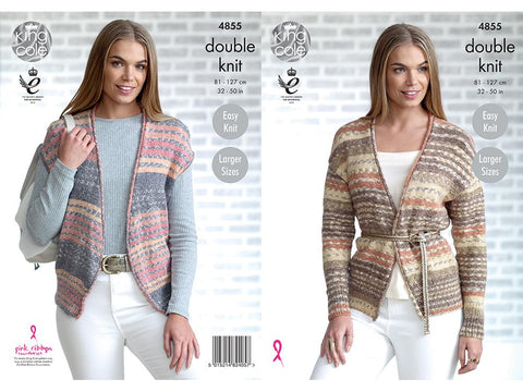 Ladies' Cardigan and Waistcoat in King Cole Drifter DK (4855K)
