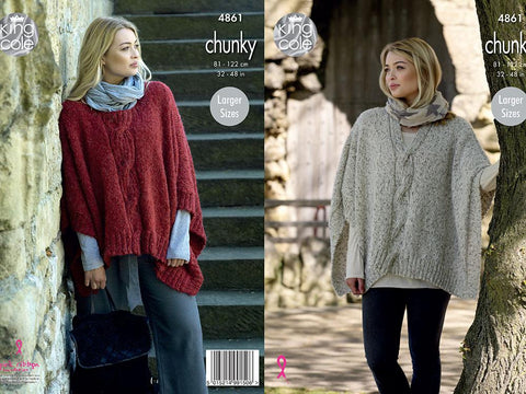Ladies Poncho in King Cole Indulge Chunky (4861)